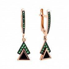 Золотые серьги-подвески Мистические треугольники в комбинированном цвете с агатами и фианитами