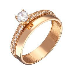 Кольцо из красного золота с кристаллами циркония 000071201