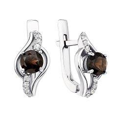 Серебряные серьги с раухтопазами и фианитами 000137528