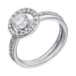 Золотое наборное кольцо в белом цвете с дорожками фианитов 000096047