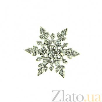 Подвес из белого золота с бриллиантами Снежинка 000019059