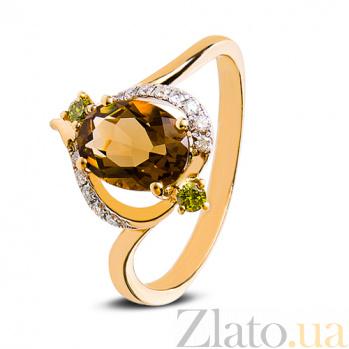 Золотое кольцо с бриллиантами Коньячный кварц 140314к/кварц