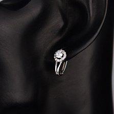 Серебряные серьги Мальвинки с белыми фианитами