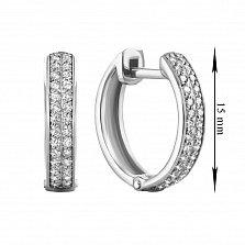 Серьги-кольца в белом золоте Рина с бриллиантами