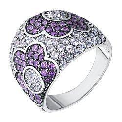Серебряное кольцо с фиолетовыми и белыми фианитами 000132861