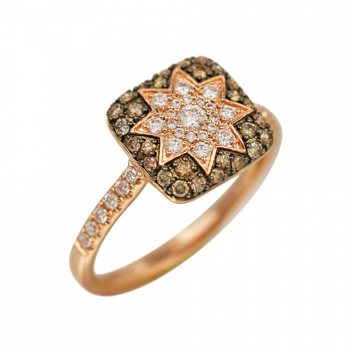 Кольцо из красного золота Звезда эльфов с белыми и коньячными бриллиантами 000081019