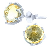 Серебряые серьги Лотос с цитрином и фианитами