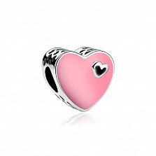 Серебряный шарм-сердце Пинк с розовой эмалью