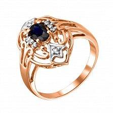Золотое кольцо в красном цвете с сапфиром и бриллиантами Шахиня
