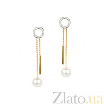 Золотые серьги с жемчугом и бриллиантами Кукушка 000026697