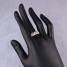 Золотое кольцо-корона Миана с узорной шинкой и белыми фианитами
