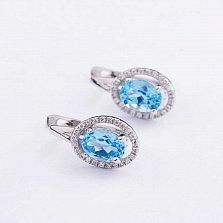 Золотые серьги Льдистая чистота в белом цвете с голубыми топазами и бриллиантами