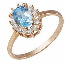 Золотое кольцо Синтия с голубым топазом и фианитами