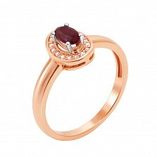 Кольцо в комбинированном золоте Карлотта с рубином и бриллиантами