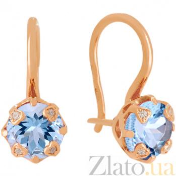 Золотые серьги с голубым топазом и фианитами Милдред 000024389