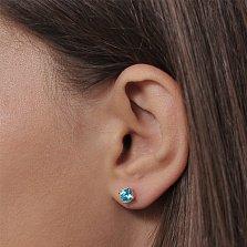 Золотые серьги-пуссеты Кристина в красном цвете с голубыми кристаллами Swarovski