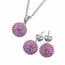Ювелирный набор Фортуна со светло-фиолетовыми кристаллами Сваровски