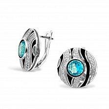Серебряные серьги Лейла с голубыми и белыми фианитами, черной эмалью