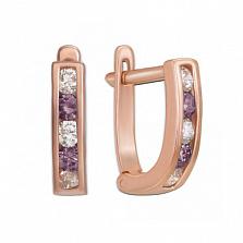 Золотые серьги Дормео с фиолетовыми фианитами