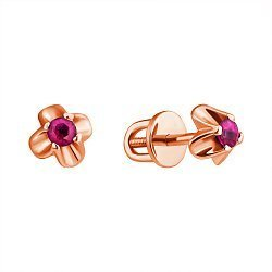 Золотые серьги-пуссеты в красном цвете с рубинами 000114464