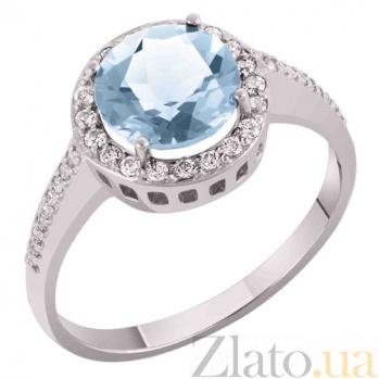 Кольцо в белом золоте Келли с голубым топазом и фианитами SVA--1190021102/Топаз голубой