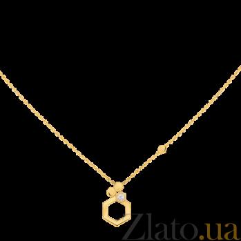 Колье в желтом золоте с бриллиантом Bee N-Ch/Bee-E-diam