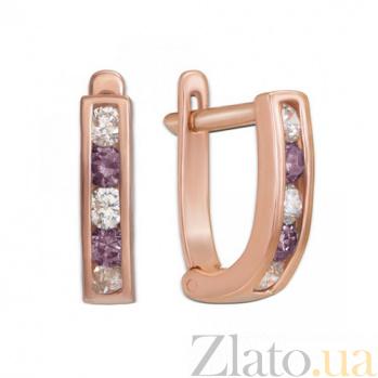 Золотые серьги Дормео с фиолетовыми фианитами 2076ф