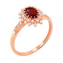 Кольцо из красного золота с раухтопазом и фианитами 000131270