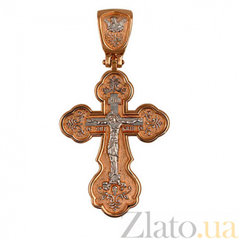 Крестик с белым родированием Крещение Руси VLT--КЛ3006-2