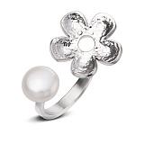 Серебряное кольцо с жемчугом Лунная роскошь