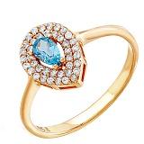 Золотое кольцо Рина с голубым топазом и фианитами