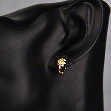 Серебряные серьги Ромашка с позолотой и желтыми фианитами