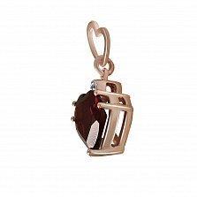 Кулон из красного золота Алиса с бриллиантом и гранатом