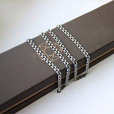 Серебряная цепь с чернением Бастиан, 4мм