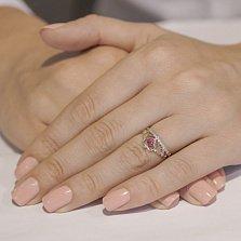 Кольцо из красного золота Каприз королевы с рубином и бриллиантами