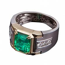 Золотое кольцо с изумрудом и бриллиантами Роберта