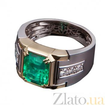 Золотое кольцо с изумрудом и бриллиантами Роберта KBL--К1867/комб/изум