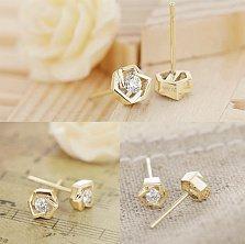 Золотые серьги-пуссеты Princess Earrings в желтом цвете с бриллиантами, 0,18ct