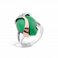 Серебряное кольцо Корделия с золотой накладкой, зеленым улекситом и фианитами