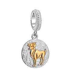 Серебряный шарм Овен с круглой подвеской и цветным родированием 000035813