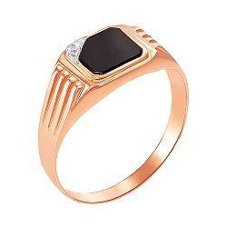 Золотой перстень-печатка с черным ониксом и фианитами 000104263