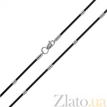 Каучуковый шнурок с серебряными вставками Марис 000032276