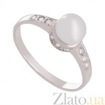 Золотое кольцо в белом цвете с жемчугом и фианитами Океания 000024337