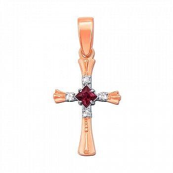 Золотий декоративний хрестик у комбінованому кольорі з рубіном і діамантами 000124815