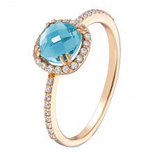 Золотое кольцо Антик с голубым топазом и фианитами