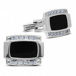 Серебряные запонки с дорожками белых фианитов и черной эмалью 000093503