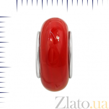 Серебряный шарм Алла с красным муранским стеклом 000081717