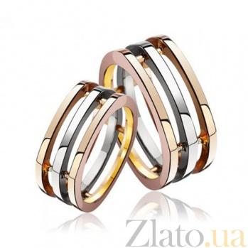 Золотое обручальное кольцо трехсекционное Обещание 000001607