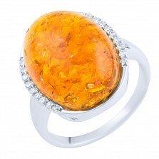Кольцо из серебра Ассоль с янтарем и фианитами