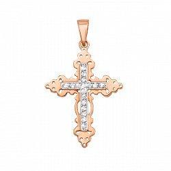 Золотой крестик Адажио в комбинированном цвете с фианитами